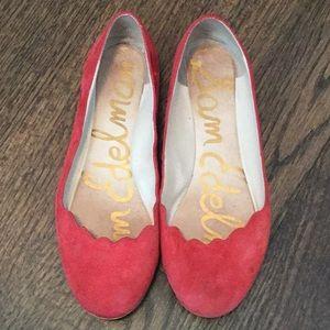 Sam Edelman Red Scalloped Ballet Flats 8